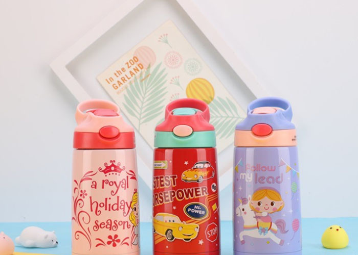 Drinking Fashionable Childrens Water Bottle Vacuum Flask With Straw For Kids